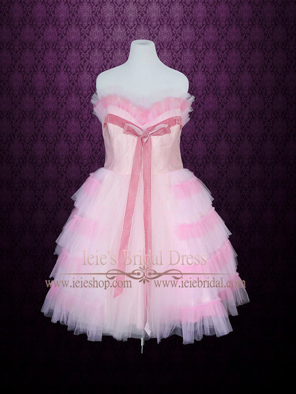Retro Pink Tulle Prom Dress in Tea Length
