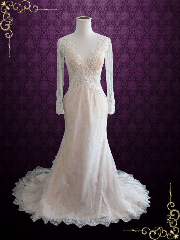 Vintage Style Keyhole Lace Wedding Dress With Plunging Neckline And