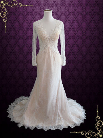 Vintage Style Keyhole Lace Champagne Wedding Dress with Plunging Neckline and Long Sleeves | Amber