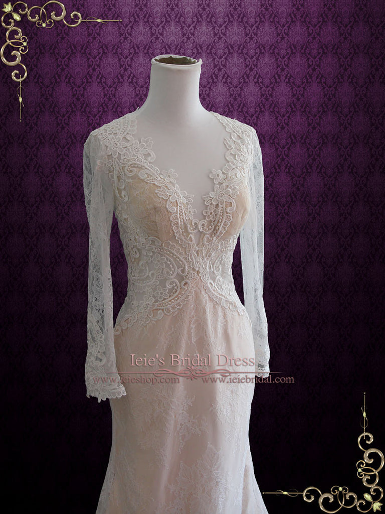 Sexy Vintage Lace Wedding Dress with Deep V Neckline Open Keyhole Back | Amber Size 6