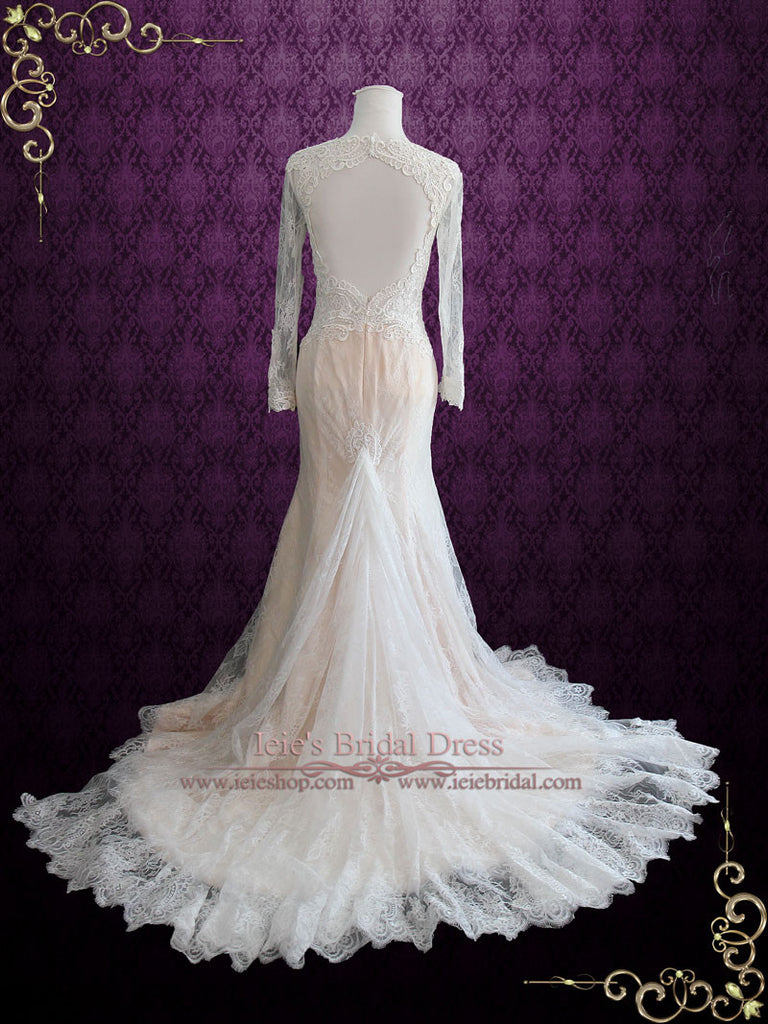Vintage Style Keyhole Lace Wedding Dress with Plunging Neckline and Long Sleeves | Amber