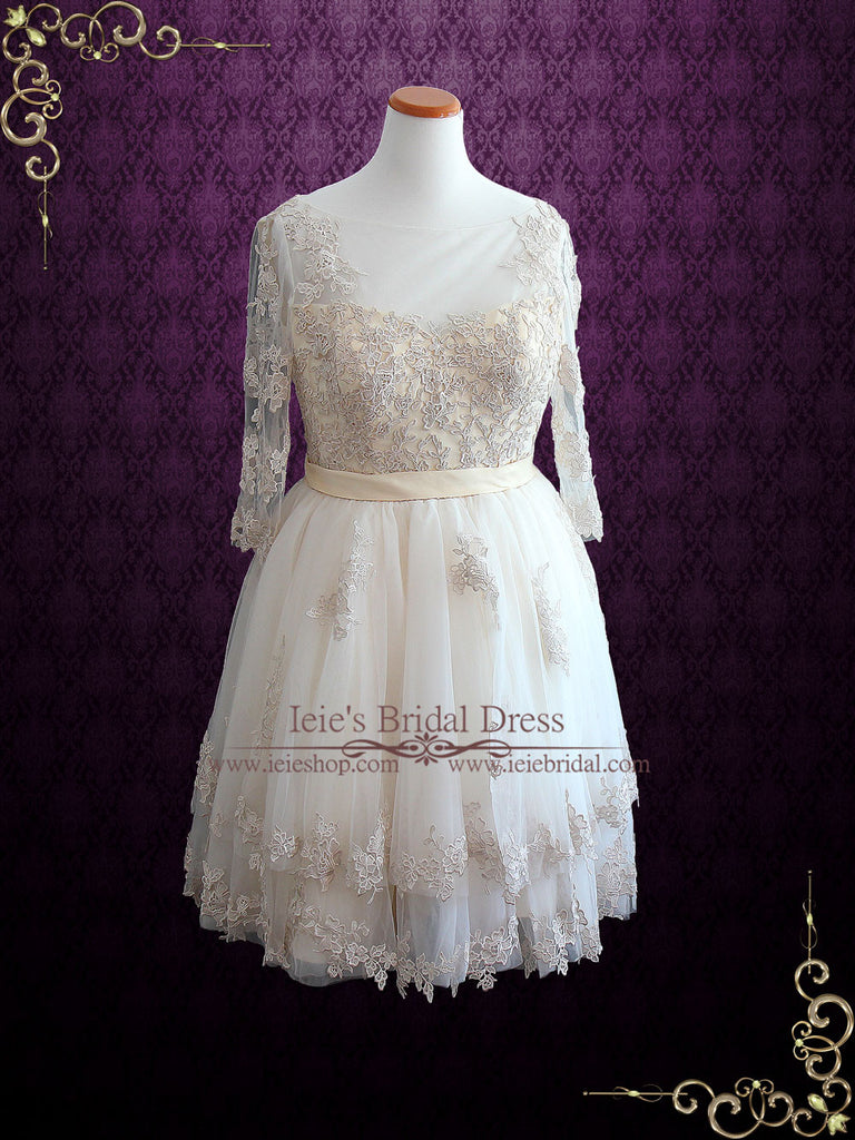 Vintage Short Champagne Lace Wedding Dress | Angie