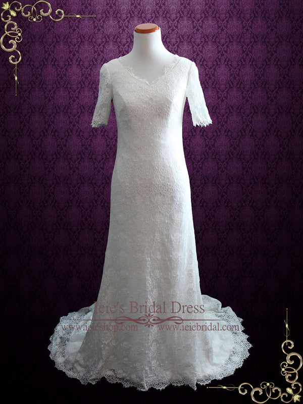2 Piece Modest Cotton Lace Wedding Dress with Short Sleeves | Lorelle