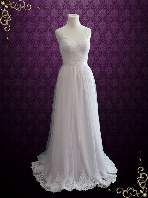 Simple Destination Lace Wedding Dress With Thin Straps And Open Back