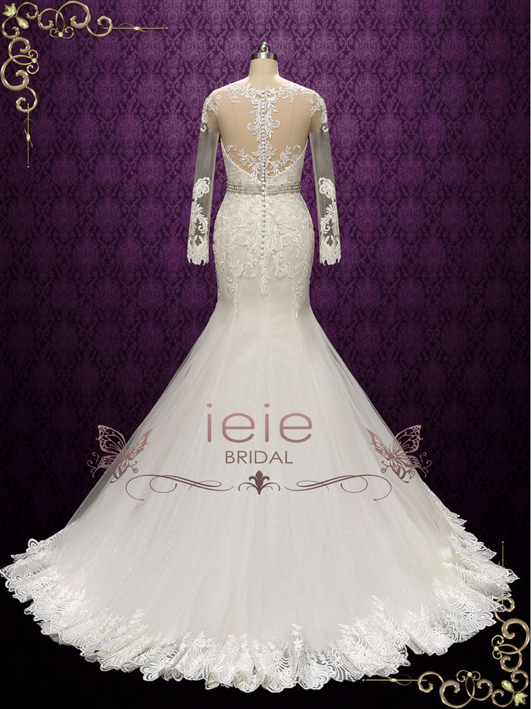 Vintage Style Lace Fit and Flare Wedding Dress | Alisa