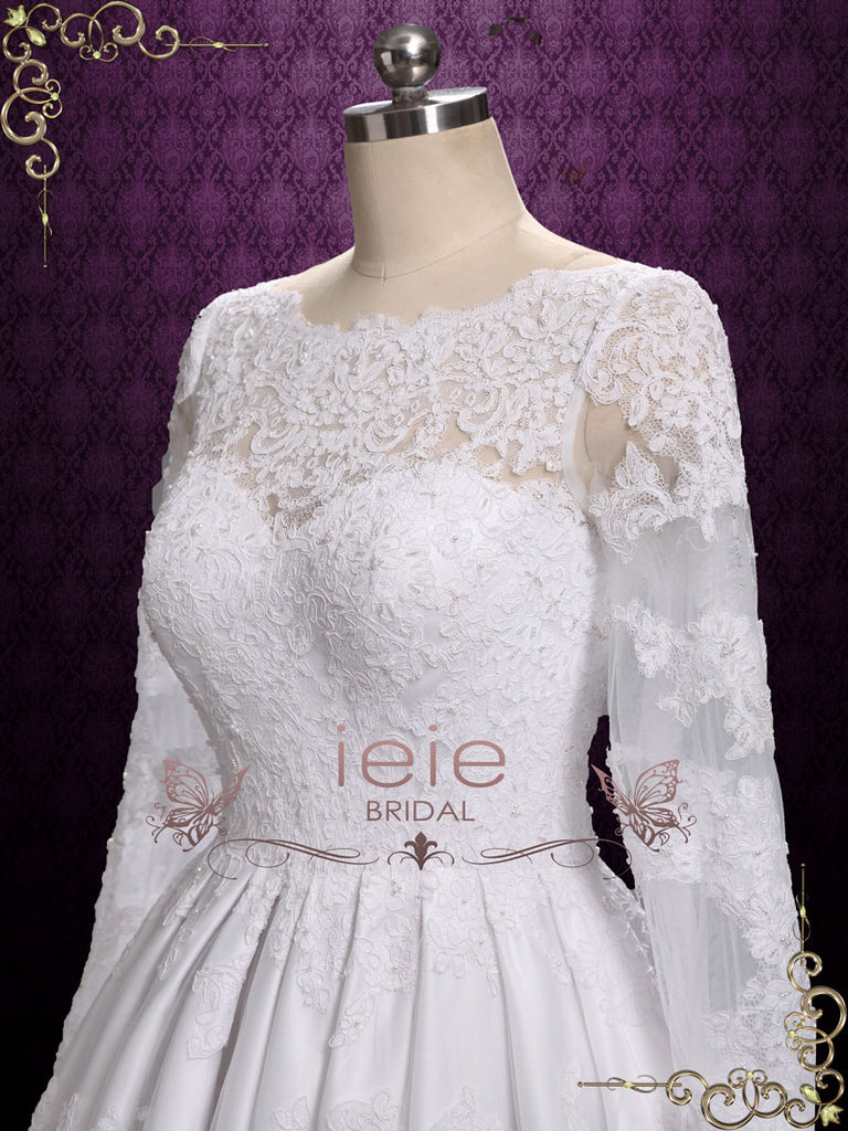 Vintage Tea Length Lace Wedding Dress with Long Sleeves | Elle