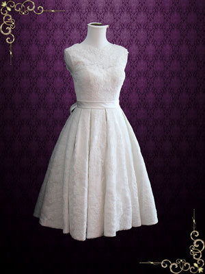 Vintage Style Lace Tea Length Wedding Dress with Pleated Skirt | Caroline