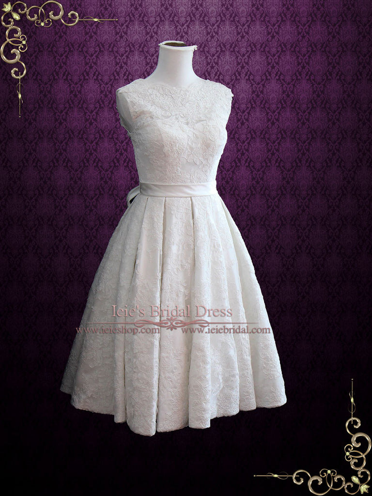 Vintage Style Lace Tea Length Wedding Dress CAROLINE