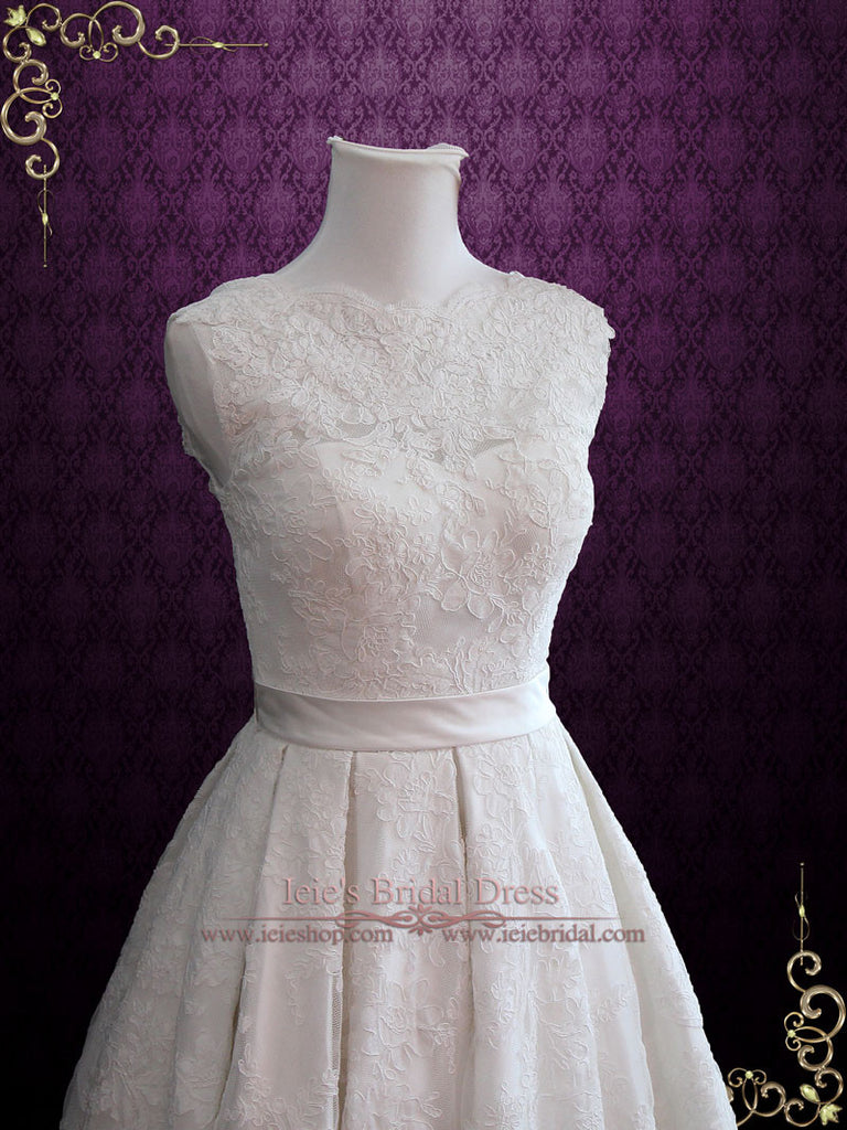Ready to Ship Vintage Style Lace Tea Length Wedding Dress with Pleated Skirt | Caroline