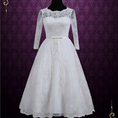 Vintage Inspired Tea Length Lace Wedding Dress with Sleeves | Maya ...