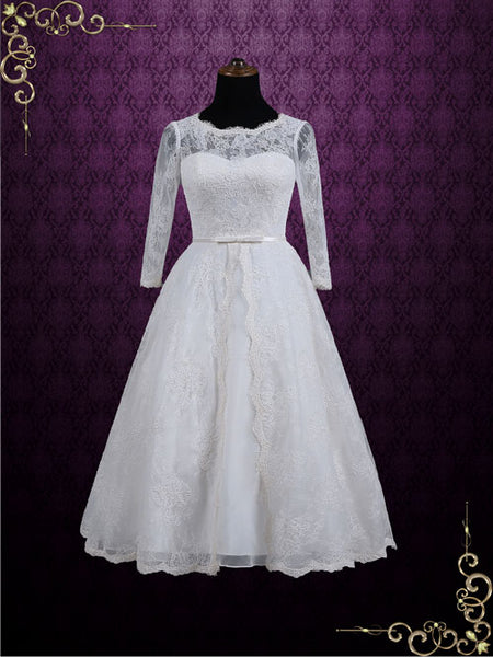 Vintage Inspired Tea Length Lace Wedding Dress with Sleeves | Maya