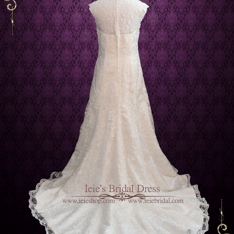 Vintage Style Lace A-line Wedding Dress with Cap Sleeves | Rosemary