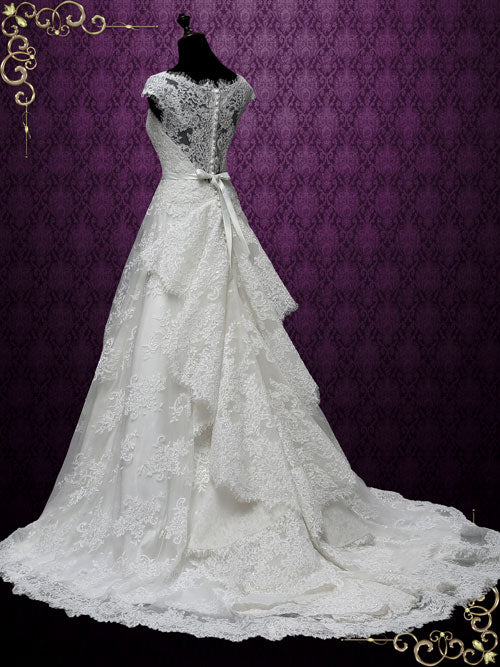 Vintage Lace A-line Wedding Dress with Cascading Train | Katerina