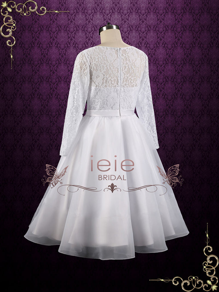 Vintage Style Modest Tea Length Wedding Dress with Long Sleeves | Ciera