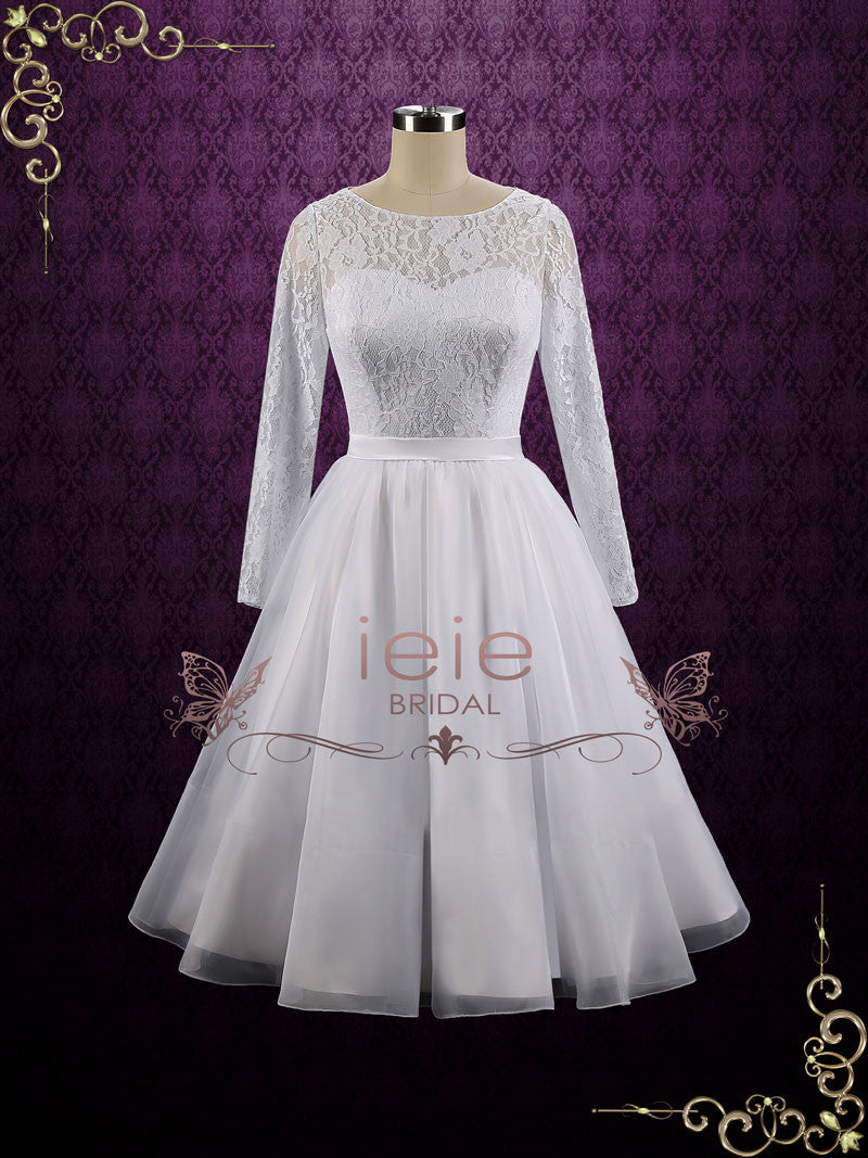 Vintage Style Modest Tea Length Wedding Dress With Long Sleeves Ciera: Vintage Tea Length Modest Wedding Dresses At Websimilar.org