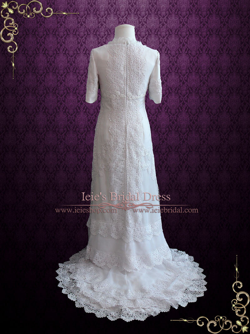 Vintage Style Modest Lace Chiffon Wedding Dress with Sleeves | Cassandra