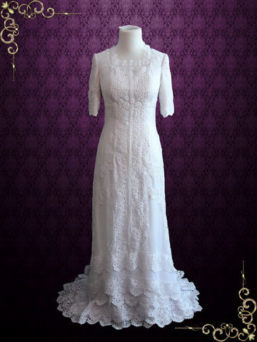 Vintage Style Modest Lace Silk Wedding Dress with Sleeves | Cassandra