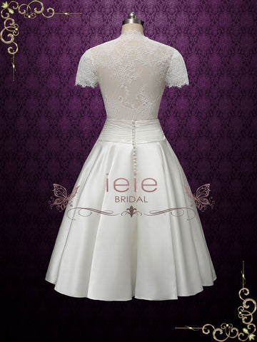 Vintage Style Tea Length Wedding Dress with Short Sleeves | LILY