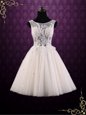 Vintage Short Champagne Sleeveless Wedding Dress | Paisley
