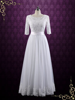 Vintage Modest Lace Wedding Dress with Half Sleeves | Brianne