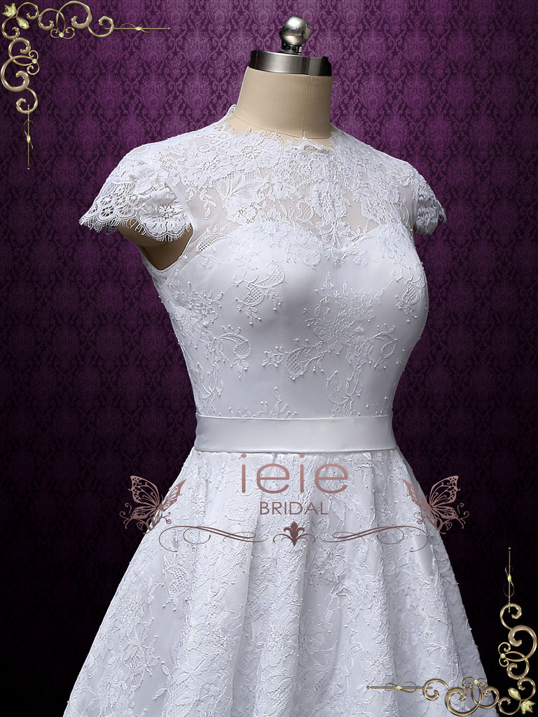 Vintage Style White Short Lace Tea Length Wedding Dress | Marigold
