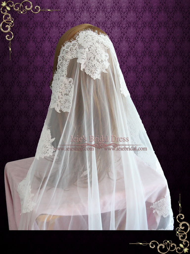 Waltz Length Mantilla Lace Wedding Veil with Eyelash Edge