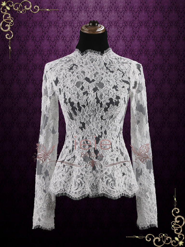 Vintage Style Wedding Lace Top with Long Sleeves | Hudson