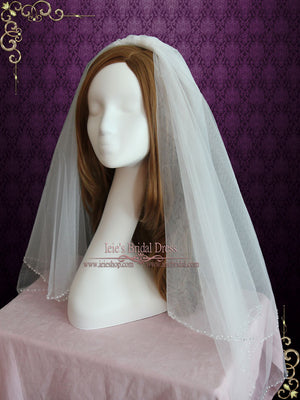 Two Tier Fingertip Wedding Veil with Pearl Edge | VG1065