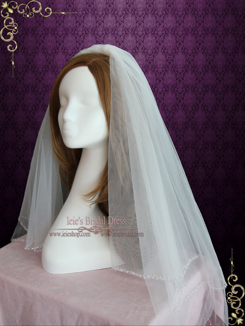 Two Tier Fingertip Wedding Veil With Pearl Edge Vg1065