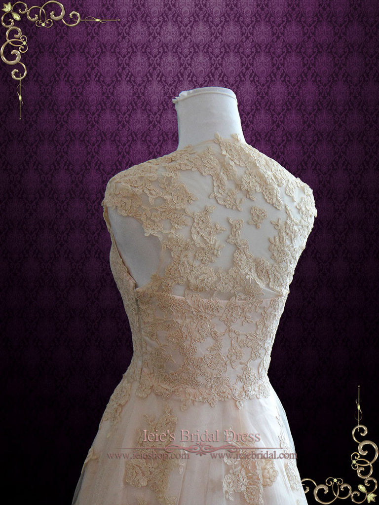 Ready to Ship Blush Lace Wedding Dress | Korynne