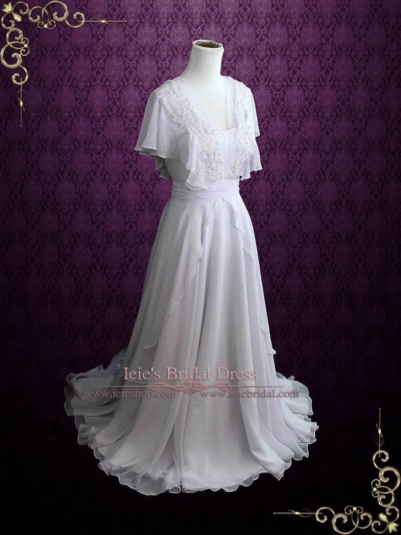 Beach Whimsical Grecian Chiffon Wedding Dress with Butterfly Sleeves ...
