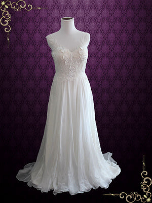 Whimsical Grecian Silk Chiffon Wedding Dress with Floral Lace Appliques | Tara