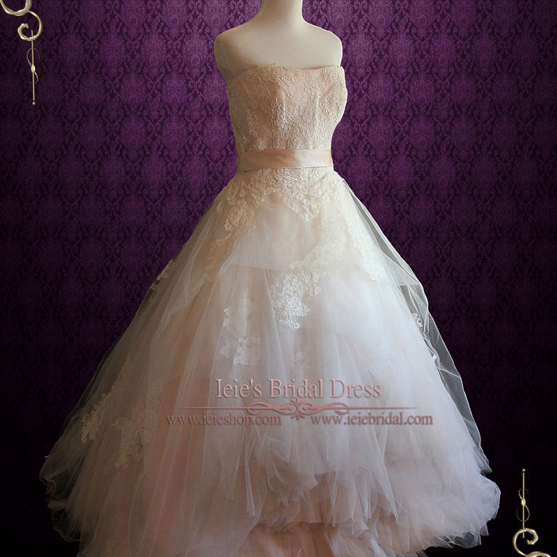 Whimsical Strapless Lace Ball Gown Wedding Dress | Eliza