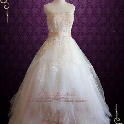 Ethereal Strapless Lace Ball Gown Wedding Dress | Eliza
