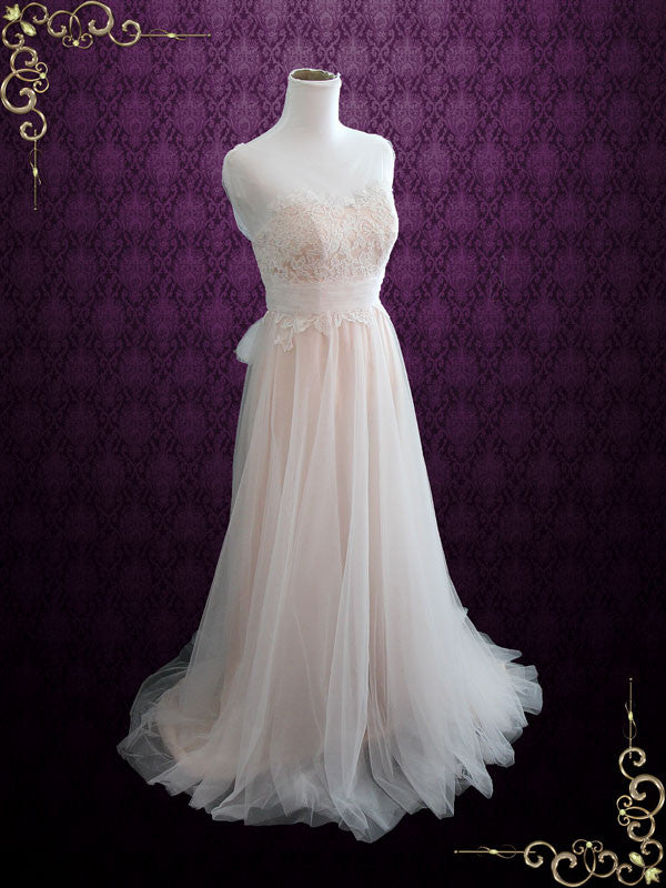 Whimsical Lace Wedding Dress with Illusion Neckline | Sara