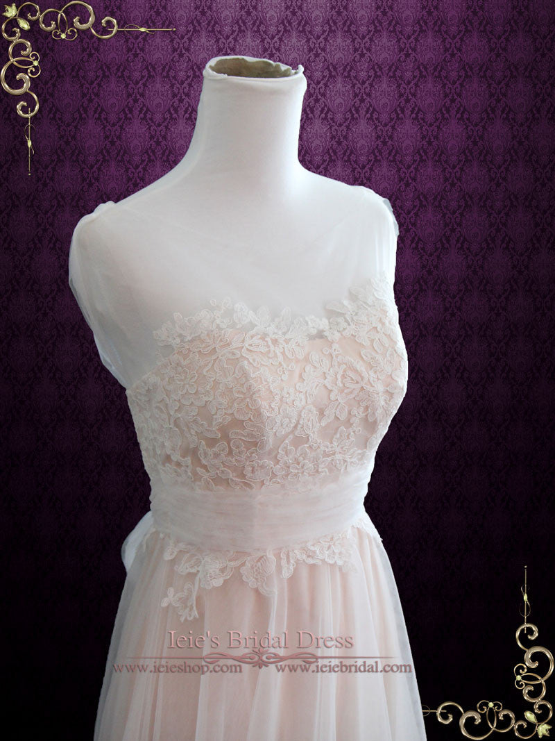 Blush Whimsical Beach Lace Wedding Dress with Illusion Neckline and ...