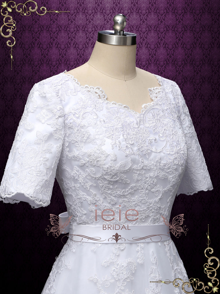 Modest Short Sleeves Wedding Dress MIRIAM