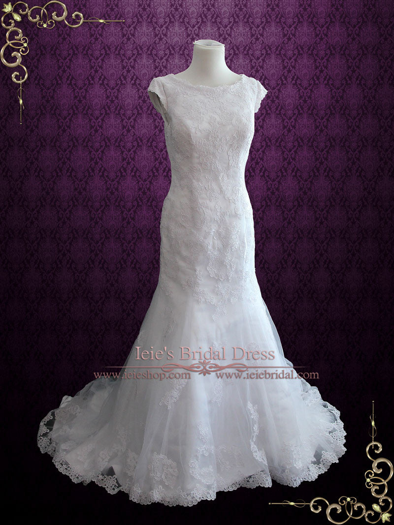 Ready to Ship Modest Lace Fit and Flare Wedding Dress with Cap Sleeves | Josephine