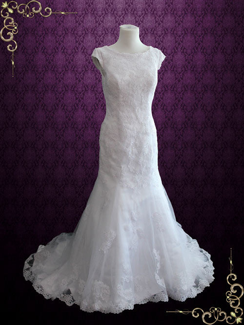 Modest Lace Fit And Flare Wedding Dress With Cap Sleeves
