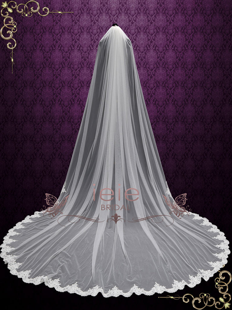 Extra Wide Cathedral Length Wedding Veil with Lace at the Hem | VG2006W