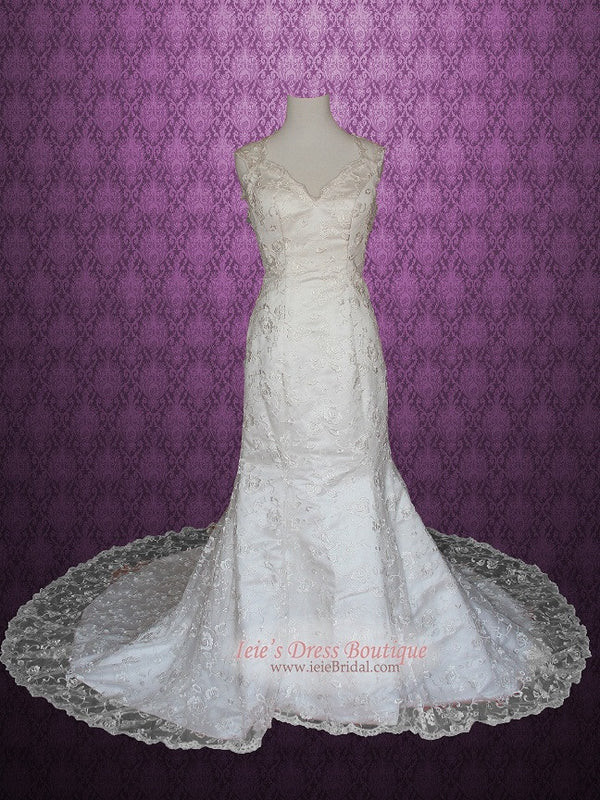 Floral Lace Overlay Mermaid Wedding Gown with Keyhole Back