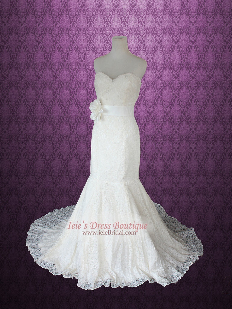 Ieie Vintage Style Strapless Sweetheart Cotton Lace Mermaid Wedding Dress