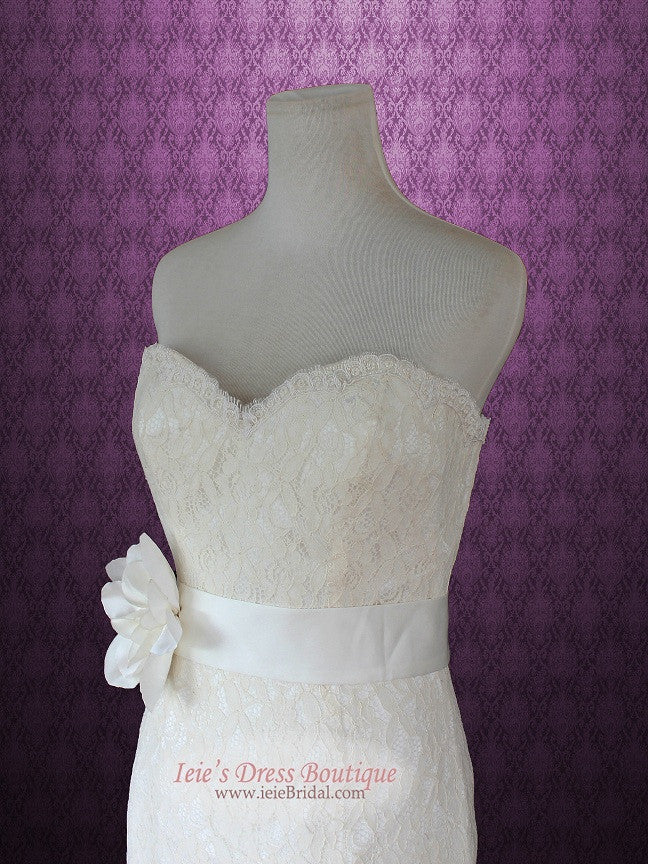 Vintage Style Strapless Sweetheart Cotton Lace Mermaid Wedding Dress
