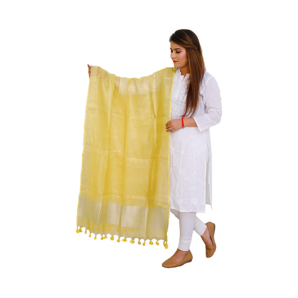 Solid Linen Dupatta (Yellow)
