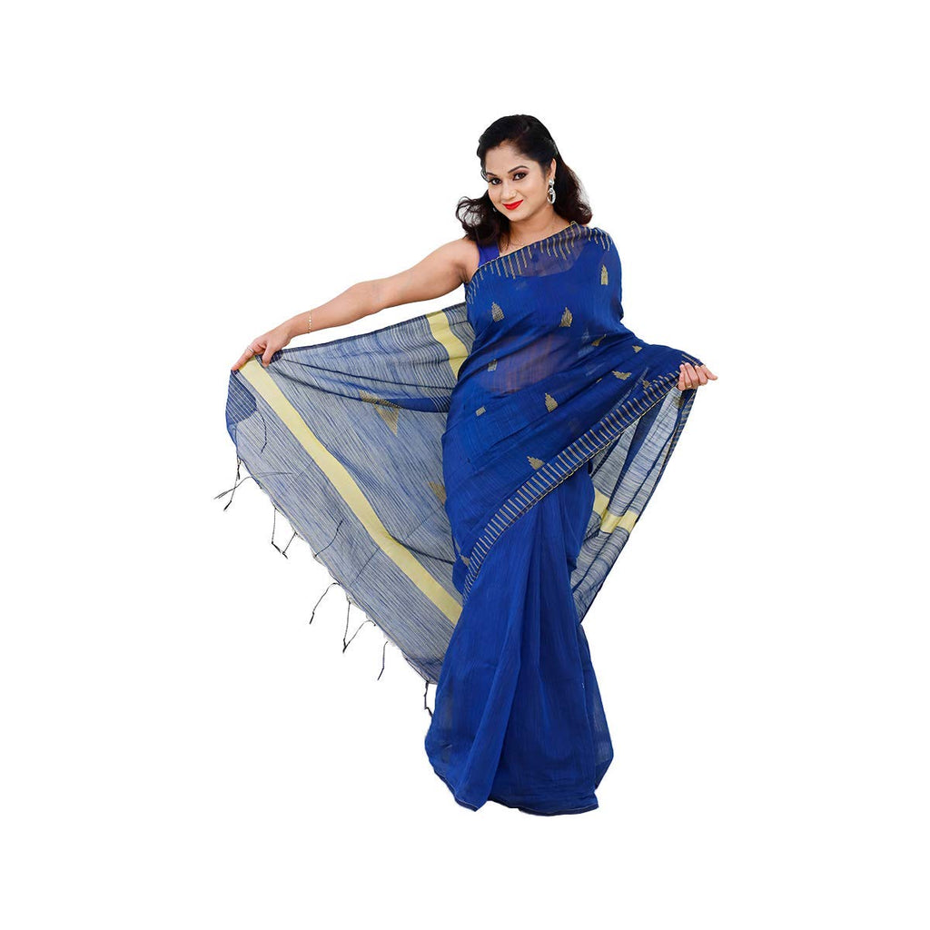 Temple Design Handloom Silk Sarees Blue & Yellow