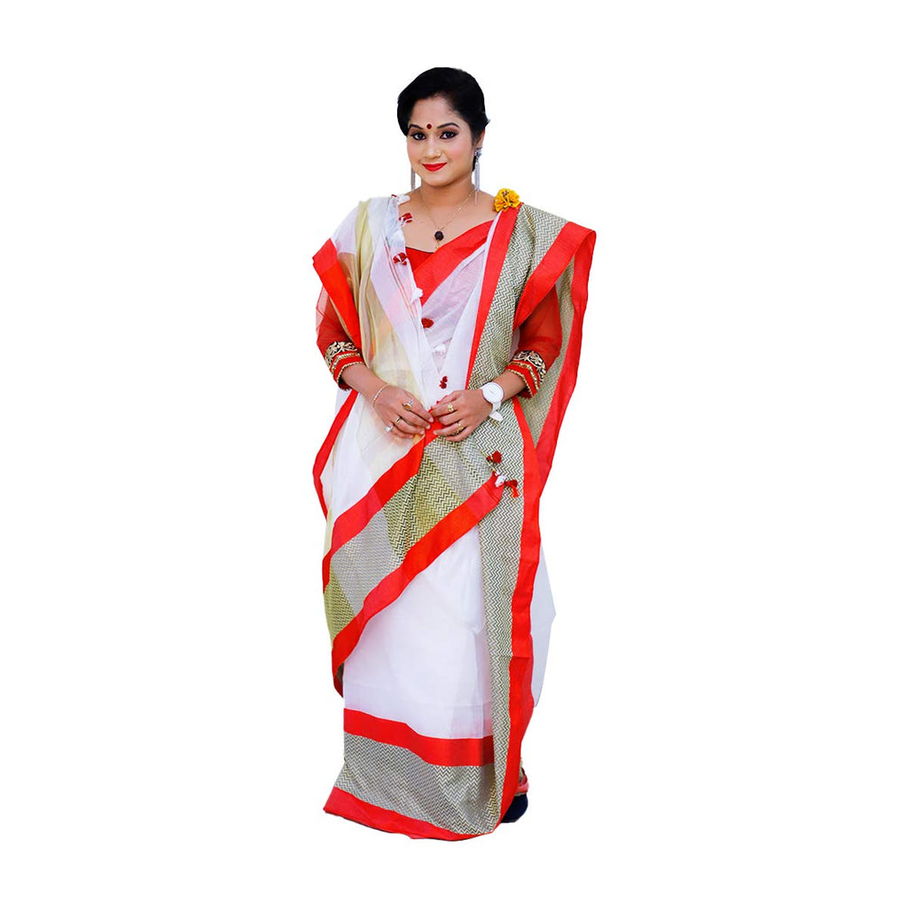 Handloom Cotton Silk Sarees (White with Red Border)