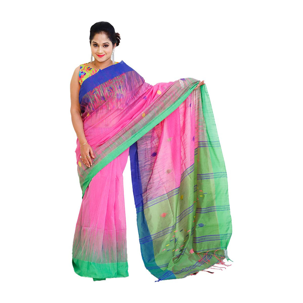 Ikkat Cotton Handloom Sarees (Pink & Green)