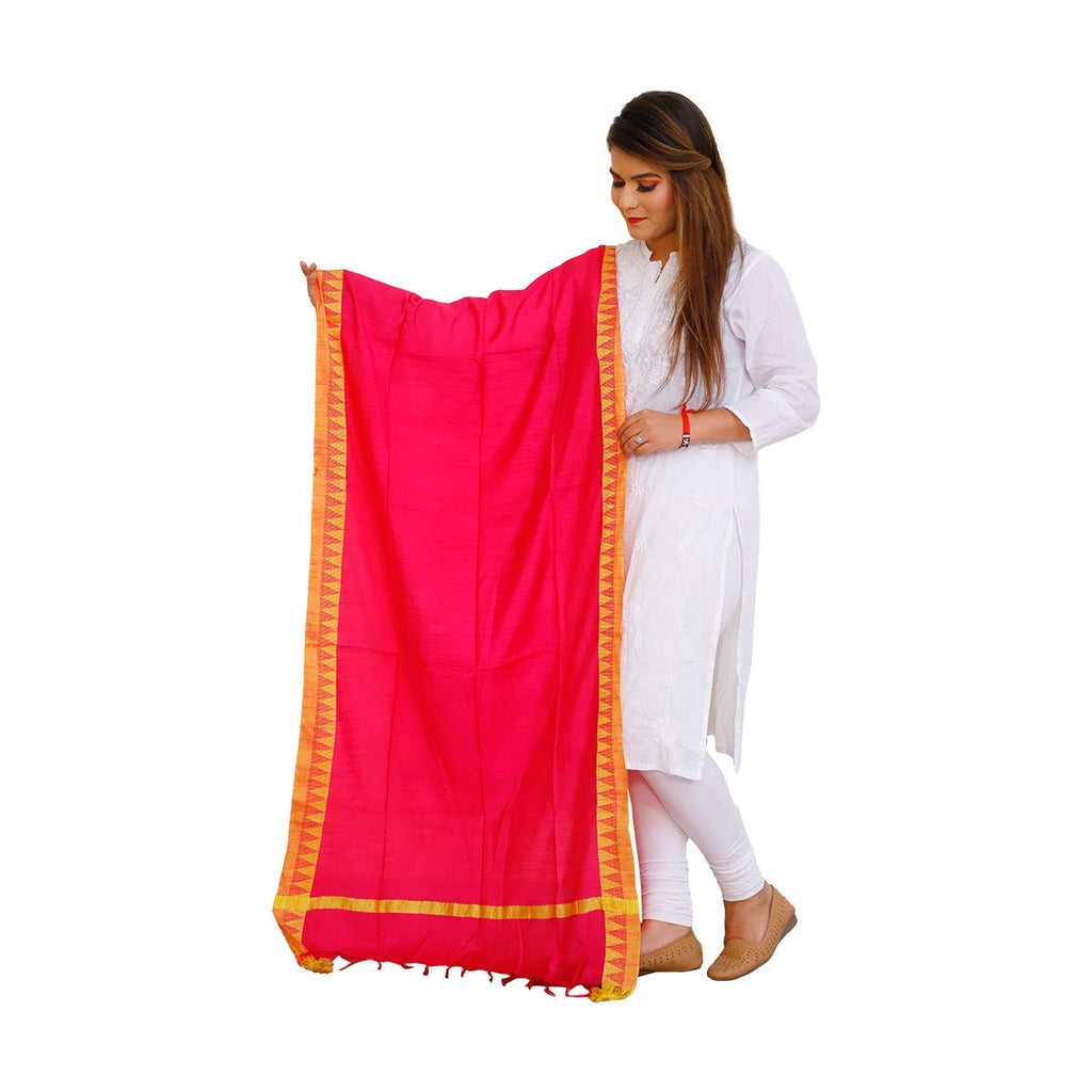 Cotton Linen Dupatta (Red With Golden Border)
