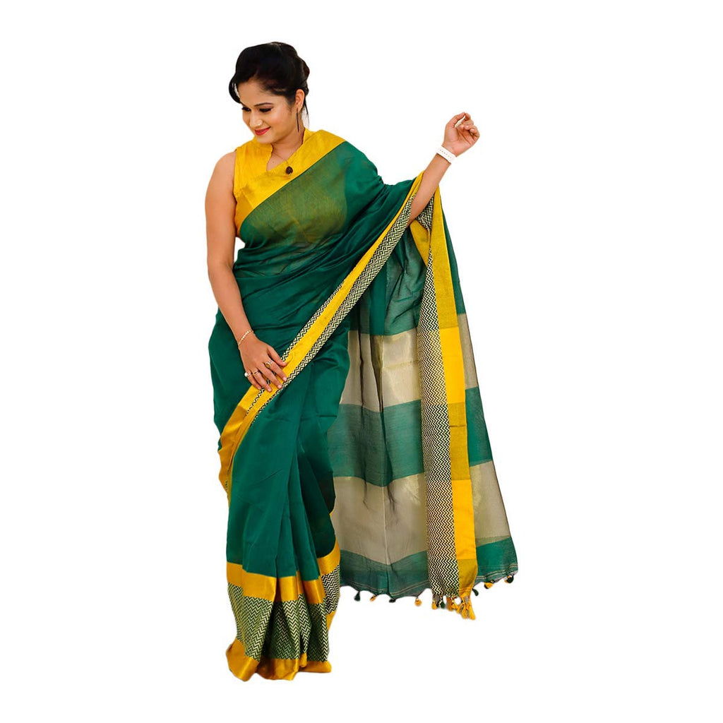 Handloom Cotton Silk Sarees (Green with Yellow Border)