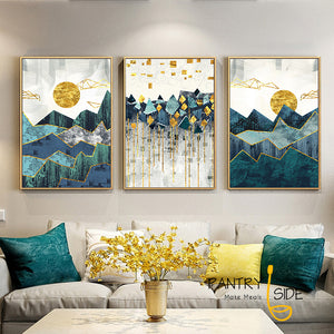 Geometric Mountain Canvas